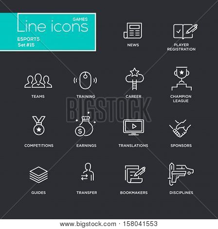 Esports - vector simple thin line design icons and pictograms set - black background. News, registration, parties, guides, training, transfer, earnings, competitions, champion bookmakers sponsors