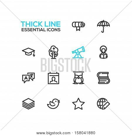 Education - modern vector plain simple thick line design icons and pictograms set. Scroll, umbrella, academic cap, tree, telescope, student, owl, books, translation, guides bird star globe