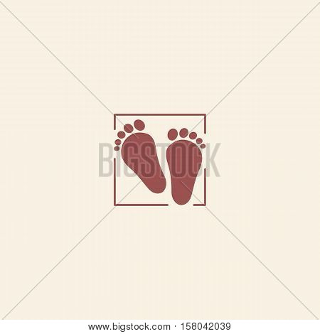 Child pair of footprints icon. Toddler barefoot symbol. Colored flat footsteps logo on pink background. Kids shoes shop logotype. Vector illustration