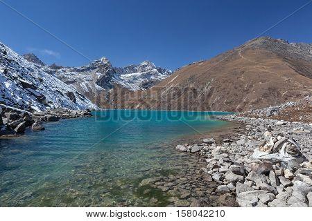Himalaya Mountain Landscape. View Of Amazingly Beautiful Gokyo Lake In Sagarmatha National Park, Nep