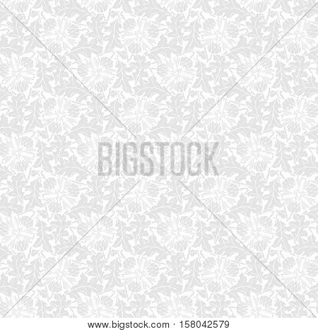 Vector White seamless pattern with gray stilized leaf and flower.
