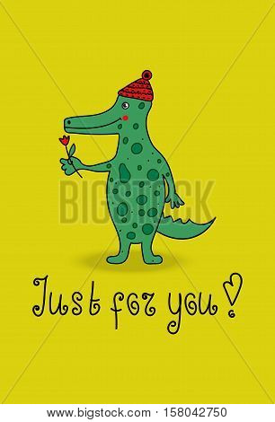 Cartoon crocodile. Vector funny cute green alligator. Illustration with cheerful smiling animal character greeting cards flyers. Gator is in cap and gives flower.