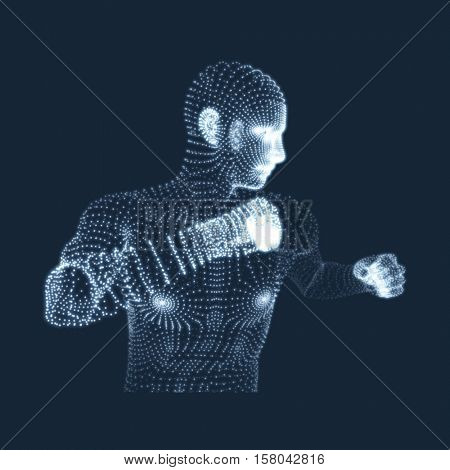Fighting Man. 3D Model of Man. Human Body Model. Body Scanning. View of Human Body. Vector Graphics Composed of Particles.