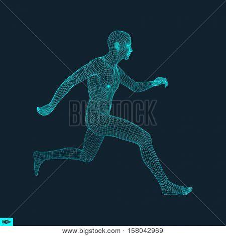 Running Man. Polygonal Design. 3D Model of Man. Geometric Design. Business, Science and Technology Vector Illustration. 3d Polygonal Covering Skin. Human Polygon Body. Human Body Wire Model.
