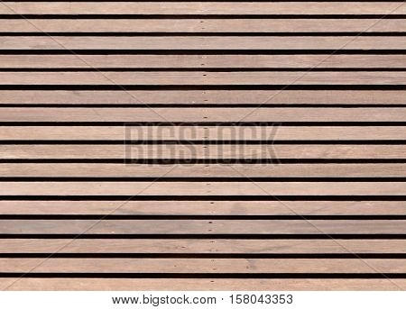 Brown wood slat floor fasten with nail for background and texture