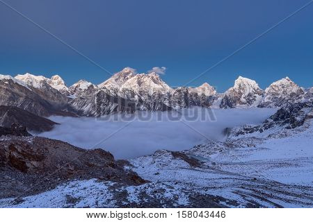 Sunset Over Everest Mountain, Panoramic View From Renjo La Pass. Breathtaking View Of Mountain Valle