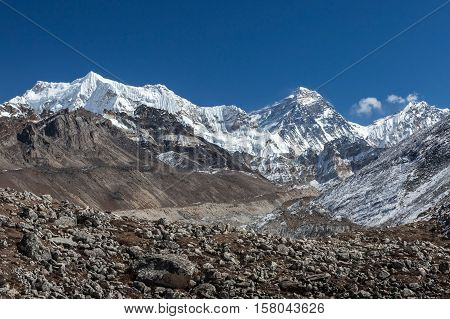 Everest Mountain And Ngozumpa Glacier View From Cho Ouy Base Camp. Breathtaking Himalayan Mountains