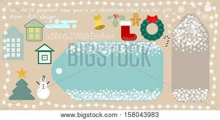 flat vector new year's or christmas printable tag for gift or sale do it yourself new year's or christmas label tag for gift