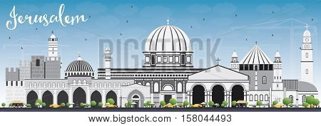 Jerusalem Skyline with Gray Buildings and Blue Sky. Vector Illustration. Business Travel and Tourism Concept with Historic Architecture. Image for Presentation Banner Placard and Web Site.
