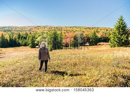 Woman standing in the middle of a field in Dolly Sods, West Virginia in autumn