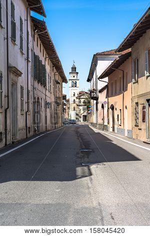 Cherasco,Italy,Europe - May 3, 2016 : View of Via Garibaldi and the Sant Iffredo Church