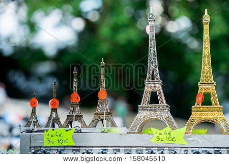 Paris, France- June 30, 2013:mini Eiffel Towers In Single Shop Of Paris. It's A Tipical Souvenir You