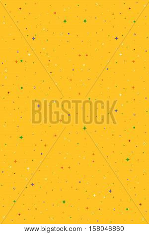 Yellow vertical vector seamless pattern with stars, flashes, rings, dots. Abstract hipster background for web, cards, invitations. Colorful holiday backdrop