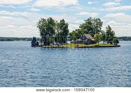 Kingston, Canada - July 24, 2014: Saint Lawrence river in the Thousand Islands on the Canadian side of the archipelago