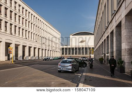 ROME - March 29: modern architecture in Eur district on March 29 2014 in Rome Italy