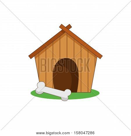 Vector illustration of a dog house kennel on the grass with a bone. Icon color.