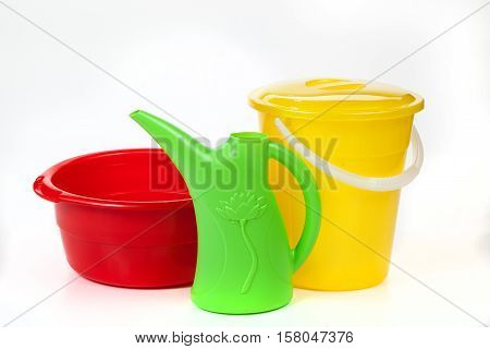 Plastic Basin, Bucket With A Cover And A Watering Can