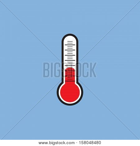 Thermometer vector icon. Thermometer vector sign isolated at blue background. Temperature measurement vector illustration.