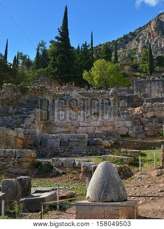Navel Stone In Delphi, Greece