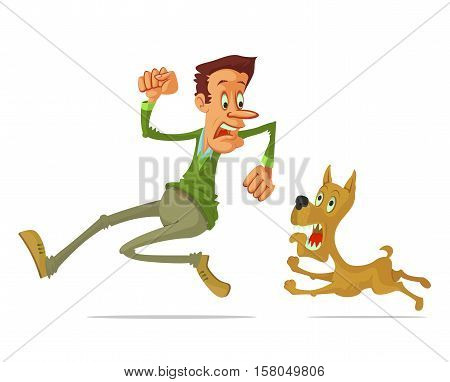 frightened man run away from angry dog cartoon