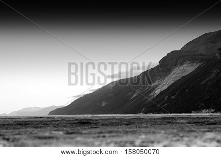 Black and white mountain with bokeh beach landscape background hd