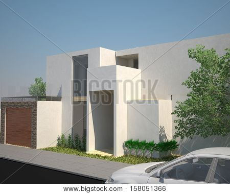 3D ILLUSTRATION/3D RENDERING EXTERIOR VIEW OF A WHITE HOUSE