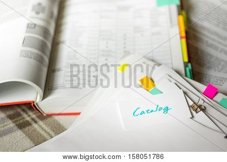 Catalog; Stack Of Documents With Large Amount Of Analytic Material.