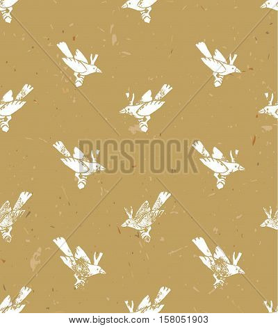 Vector seamless pattern. Linocut style with white birds.Vector grunge design for cards, backgrounds and natural product. Crafted paper.