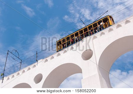 Iconic Tram of Santa Teresa is Crossing the Arch of Lapa in Rio de Janeiro, Brazil
