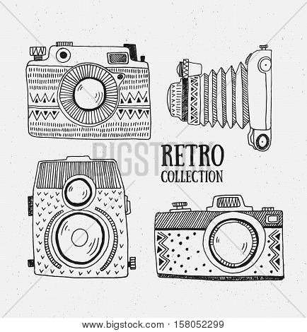 Retro photo set. Vector illustration. Vintage photo with ornaments. Hipster vector set.