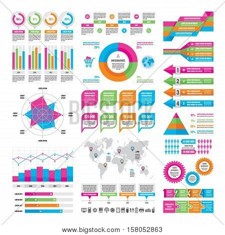 Business infographic concept - vector graphic template of design elements in flat design style for presentation, booklet, website etc. Icons set.