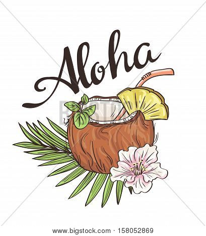 Tropic coconut cocktail. Vector hand drawn illustration. Aloha background.