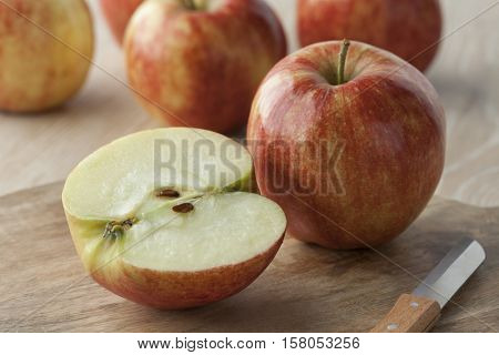 Healthy whole and half apples
