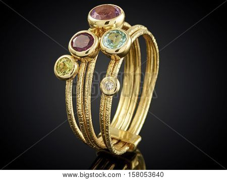 Golden Ring With Gemstone Isolated On Black Background