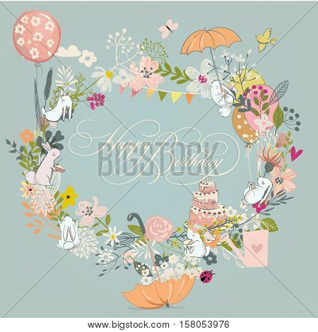 vintage doodle floral wreath and hares- vector birthday frame