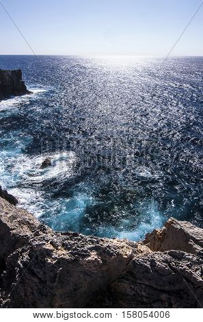 View on the sea and its abyss in Sardinia Italy.