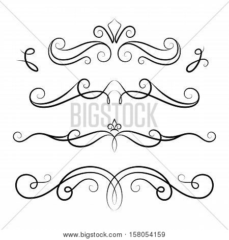Vintage calligraphic vignettes set of scroll design elements in retro style decorative flourishes elegant embellishment on white