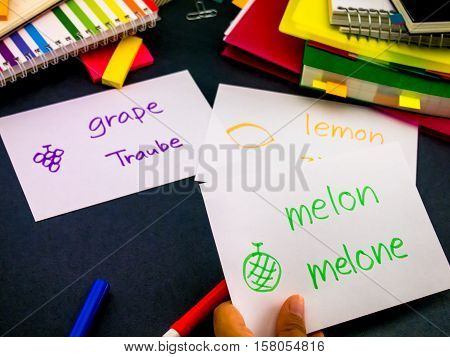 Learning New Language Making Original Flash Cards; German