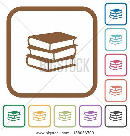 Books simple icons in color rounded square frames on white background