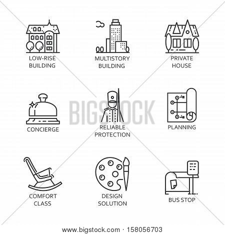 Nine logo drawn in outline style. Simple black line image of construction of houses, bus stops, infrastructure development and service. Label for your design needs. Vector contour graphics