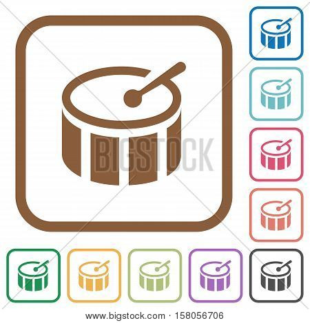 Drum simple icons in color rounded square frames on white background