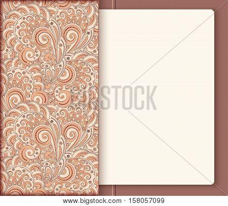 Ornamental pocket folder with sheet of paper inside decorative notebook cover