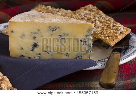 Perl Las or Blue Pearl a creamy organic hand made Welsh blue cheese served with spelt and muesli crackers