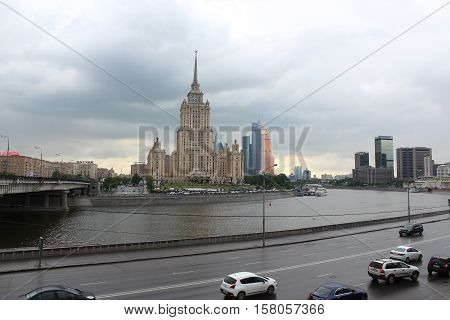 Russia, Moscow 21 May 2016, The hotel Radisson Royal (Ukraine) and towers of Moscow City