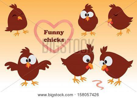 Cute cartoon set Chicken. Funny brown chicken in different positions, vector illustration.
