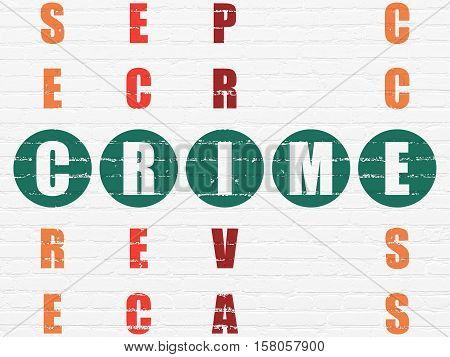 Safety concept: Painted green word Crime in solving Crossword Puzzle