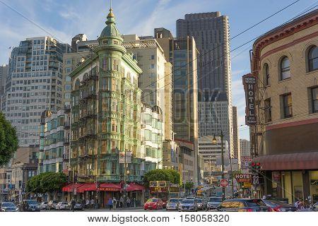 San Francisco Ca USA October 22 2016: The Coppola building and Kearny St. in San Francisco