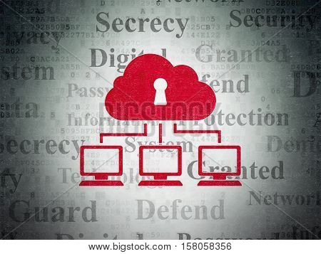 Privacy concept: Painted red Cloud Network icon on Digital Data Paper background with  Tag Cloud