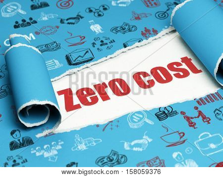 Finance concept: red text Zero cost under the curled piece of Blue torn paper with  Hand Drawn Business Icons, 3D rendering