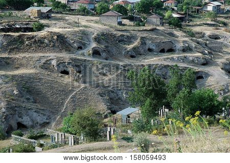 Small Cave Entrances In Tegh, Nagorno Karabakh, Armenia